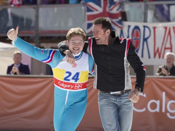 Eddie the eagle taron egerton hugh jackman 600x450