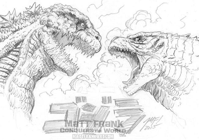 海外ゴジラ絵師が描く『レジェゴジ vs シン・ゴジラ』のスケッチが公開