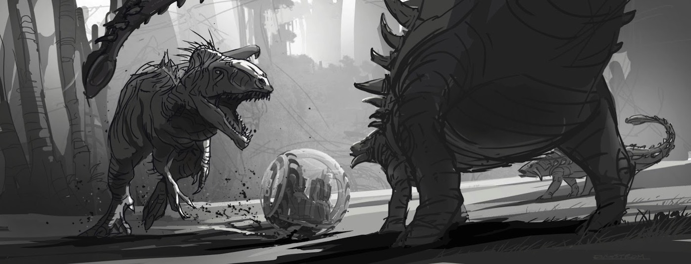 JurassicWorld IndominusRex FightSketch
