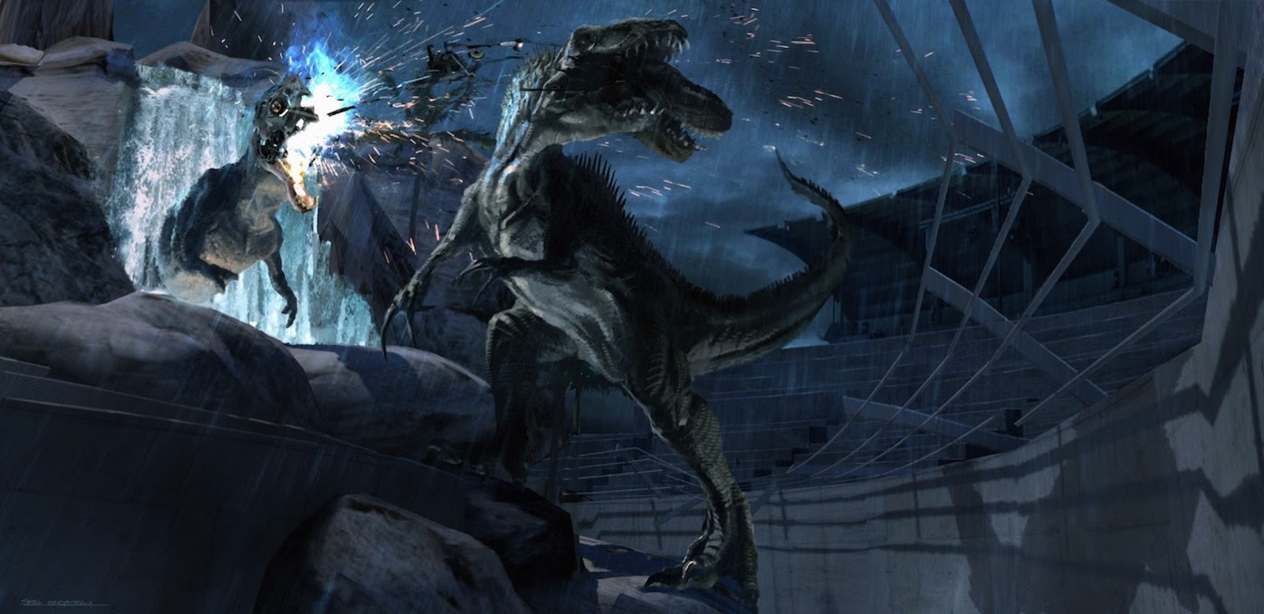 JurassicWorld RaptorStadium IndominusRex DestroyesMechanicalRex