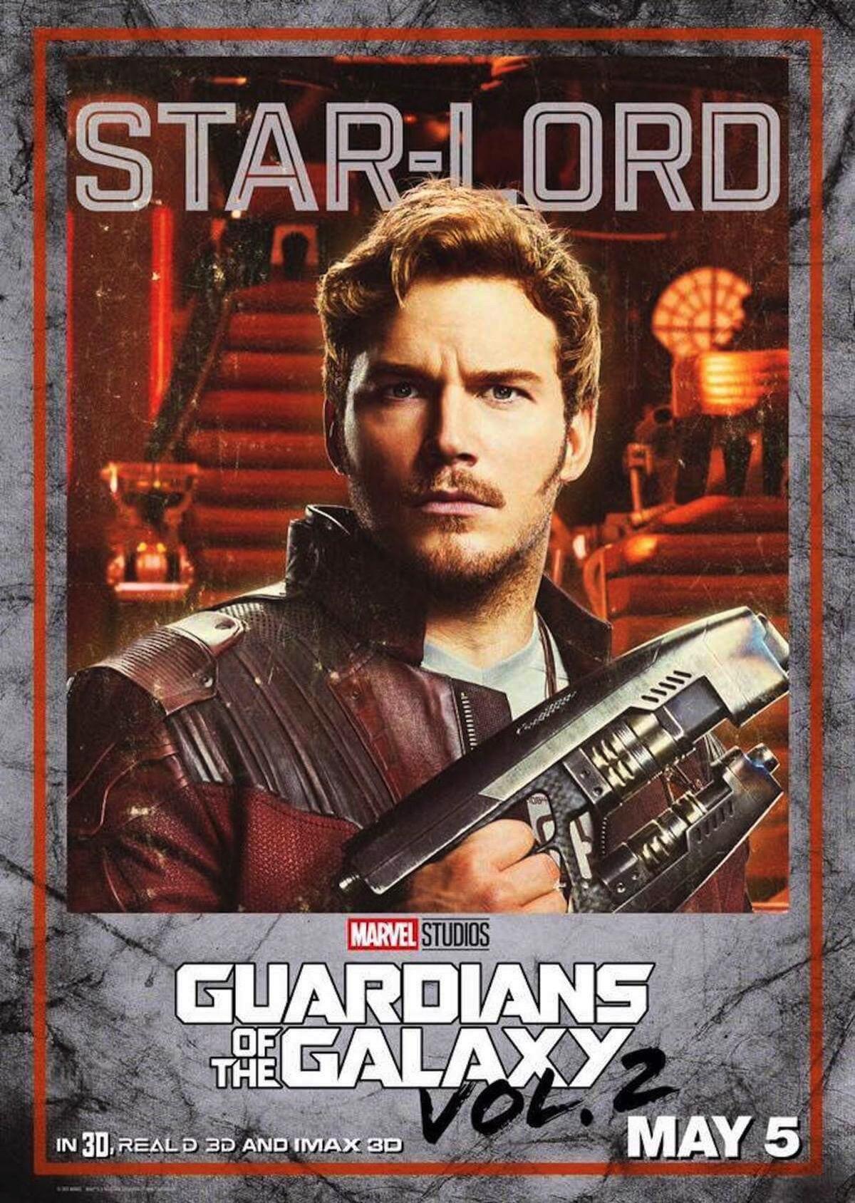 Guardians of the galaxy 2 poster star lord chris pratt