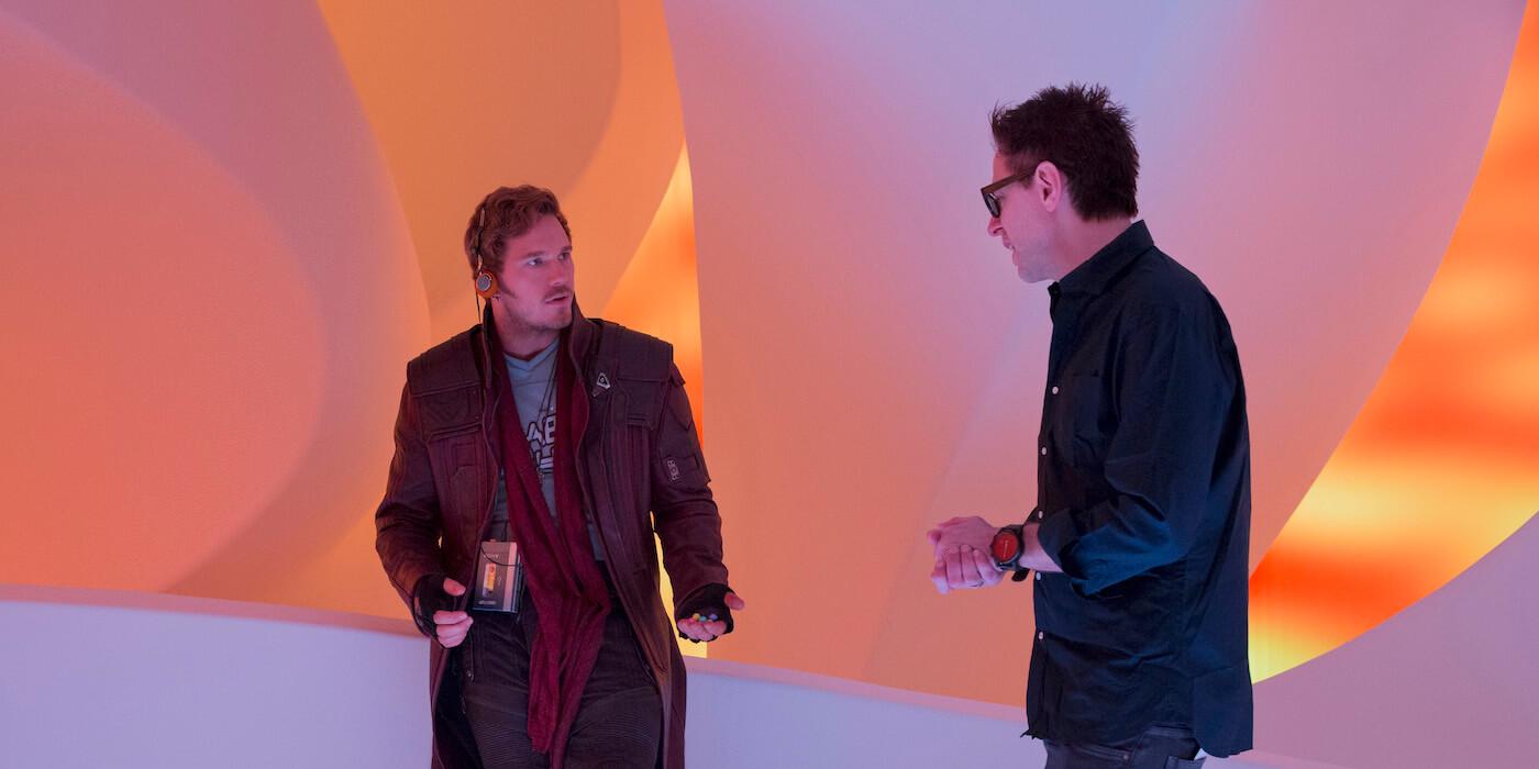Guardians of the galaxy 2 behind the scenes image chris pratt james gunn