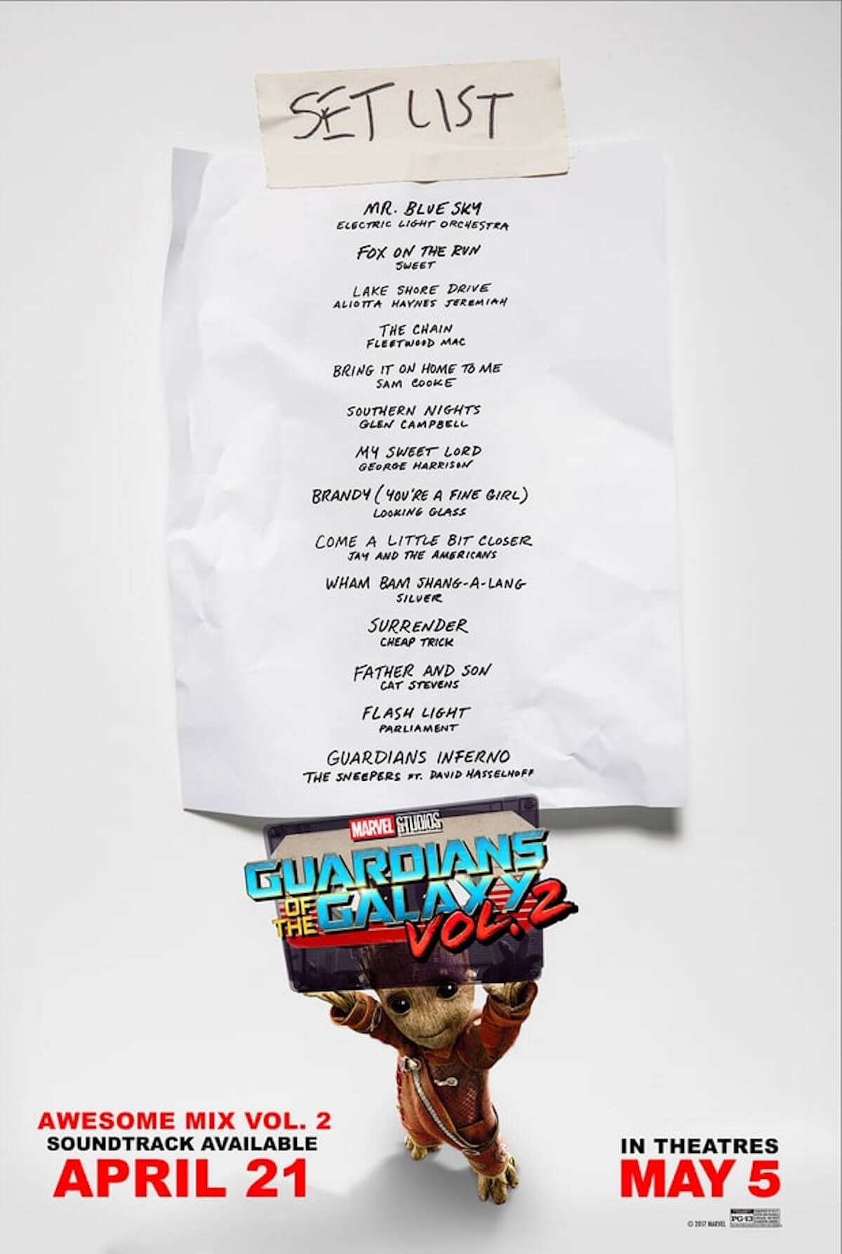 Guardians of the galaxy 2 soundtrack list